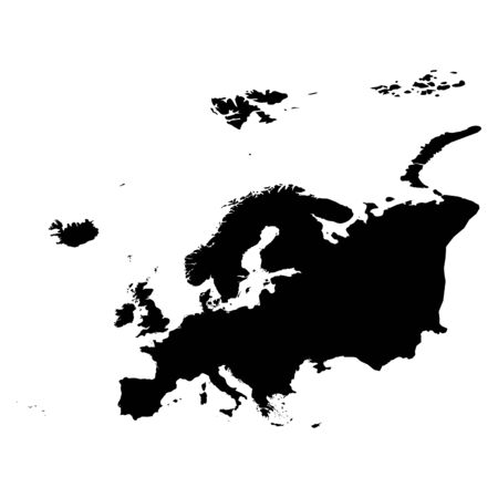Europe black silhouette. Contour map of continent. Simple flat vector illustration.