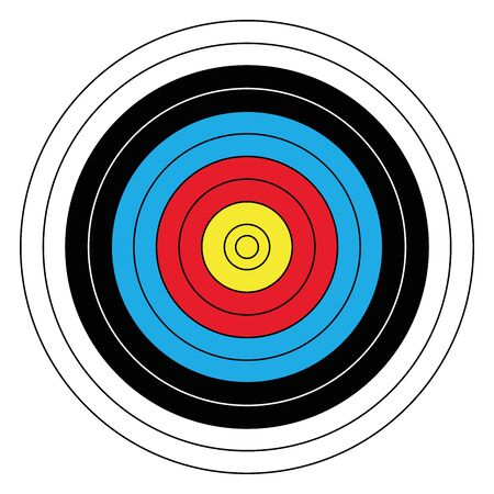 Outdoor archery target in traditional colors - yellow, red, blue, black and white. Vector illustration.