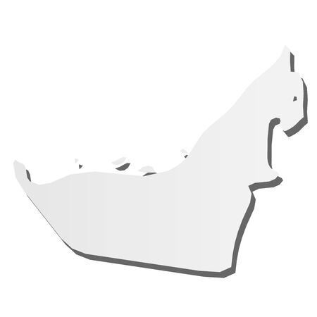 United Arab Emirates, UAE - grey 3d-like silhouette map of country area with dropped shadow. Simple flat vector illustration. 向量圖像
