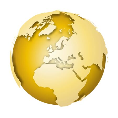 Earth globe. 3D world map with metallic lands dropping shadows on gold surface. Vector illustration.