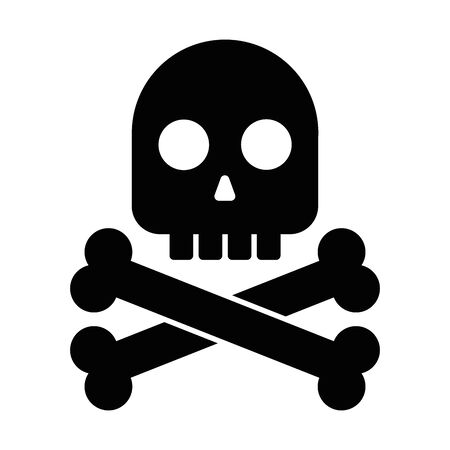 Black skull with crossed bones. Symbol of danger, death, poison, risk or pirates. Simple flat vector icon.