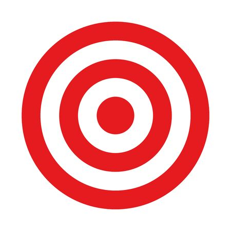 Red and white target. Hunting, shooting sport or achievement symbol. Simple vector icon.