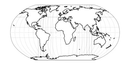 World Map in Robinson Projection with meridians and parallels grid. Americas centered. White land with black outline. Vector illustration.