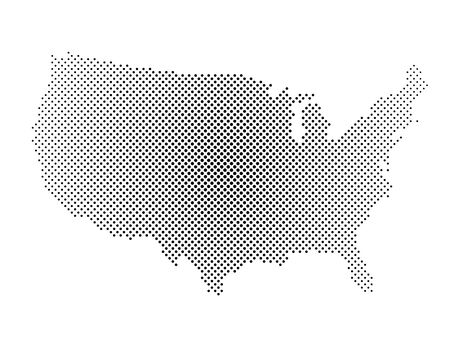 United States of America. Dotted halftone map of USA. Simple flat vector illustration.