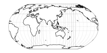 World Map in Robinson Projection with meridians and parallels grid. Asia and Australia centered. White land with black outline. Vector illustration.