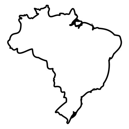 Brazil - solid black outline border map of country area. Simple flat vector illustration.