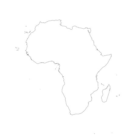 Africa thin black outline map. Contour map of continent. Simple flat vector illustration.