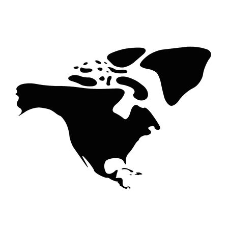 North America black silhouette. Contour map of continent. Simple flat vector illustration. Vectores