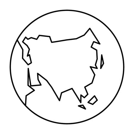 Simplified outline Earth globe with map of World focused on Asia. Vector illustration.