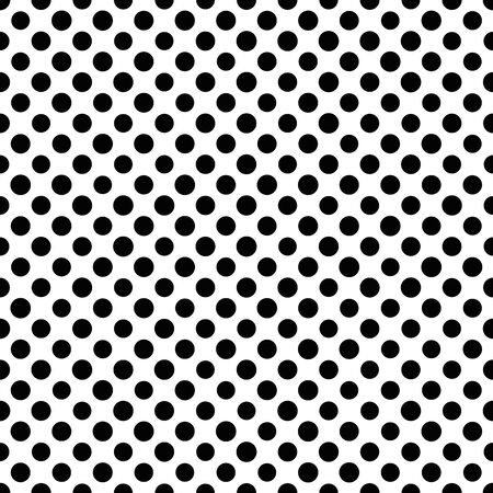 Seamless polka dot pattern. Black dots in random sizes on white background. Vector illustration.