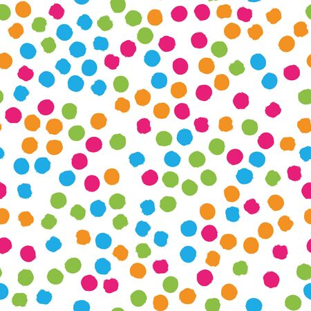 Scattered colorful brush dots. Seamless background pattern. Abstract vector wallpaper.