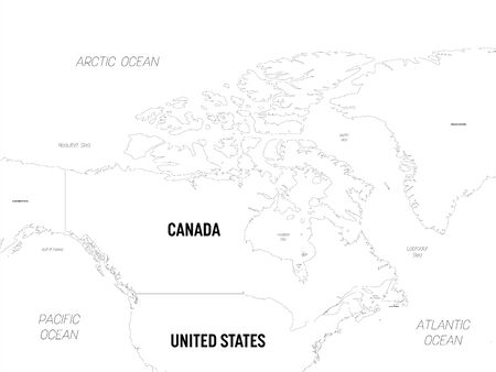 Canada map. High detailed political map Canada and neighboring countries with country, capital, ocean and sea names labeling.
