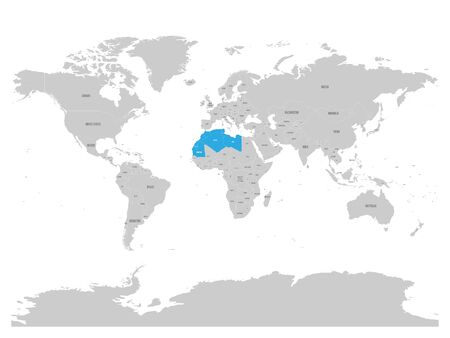 Map of Maghreb countries - Northwest Africa states blue highlighted in World map. Vector illustration.