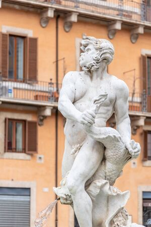 Detailed view of main sculpture of Fontana del Moro, or Moor Fountain, on Piazza Navona, Rome, Italy.