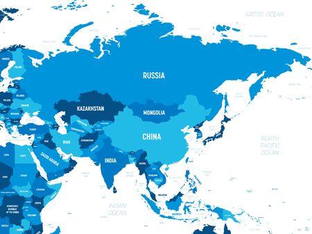 Asie - teinte verte colorée sur fond sombre. Carte politique très détaillée du continent asiatique avec étiquetage des noms de pays, de capitale, d'océan et de mer.