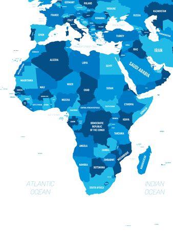 Afrika-Karte - grüner Farbton auf dunklem Hintergrund. Hochdetaillierte politische Karte des afrikanischen Kontinents mit Länder-, Hauptstadt-, Ozean- und Seenamen-Beschriftung. Vektorgrafik