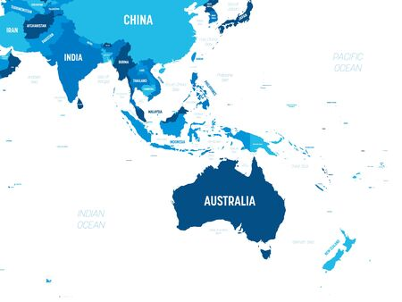 Australia and Southeast Asia map - green hue colored on dark background. High detailed political map of australian and southeastern Asia region with country, capital, ocean and sea names labeling.