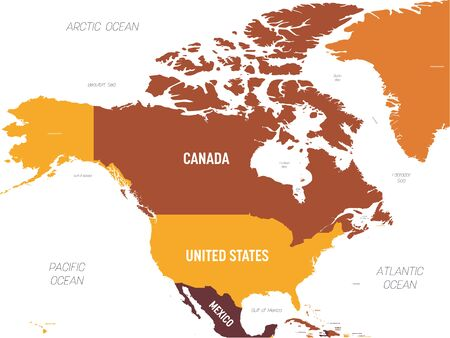 North America map - brown orange hue colored on dark background. High detailed political map North American continent with country, ocean and sea names labeling.