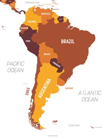 South America map - brown orange hue colored on dark background. High detailed political map South American continent with country, ocean and sea names labeling. Ilustração
