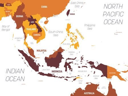 Southeast Asia map - brown orange hue colored on dark background. High detailed political map of southeastern region with country, ocean and sea names labeling.