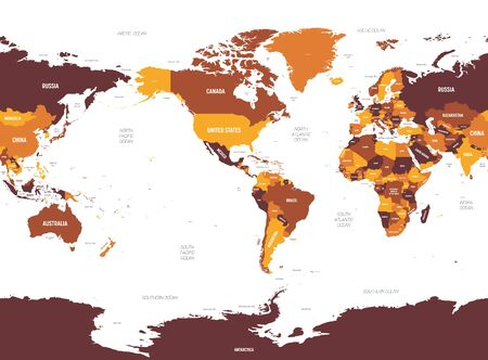 World map - America centered. Brown orange hue colored on dark background. High detailed political map of World with country, ocean and sea names labeling.