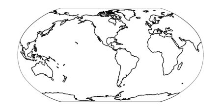 Outline map of World. Americas centered. Simple flat vector illustration.