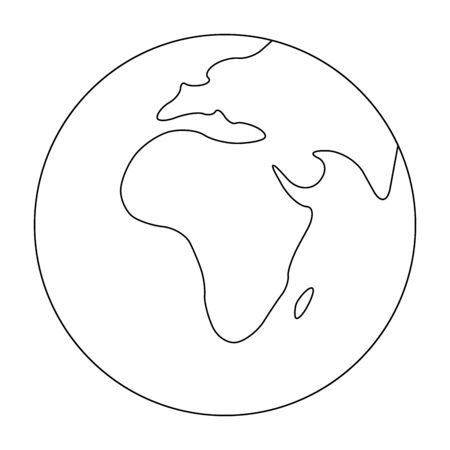 Simplified outline Earth globe with map of World focused on Africa. Vector illustration.