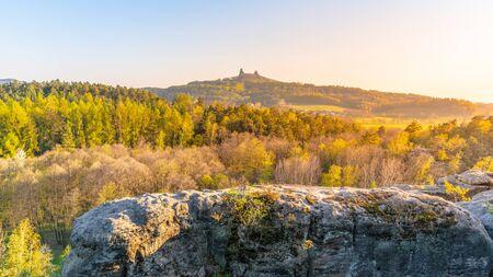 Trosky castle ruins. Two towers of old medieval castle on the hill. Landscape of Bohemian Paradise, Czech: Cesky raj, Czech Republic.