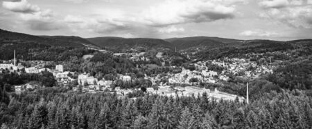 Tanvald - small mountain town in Jizera Mountains, Czech Republic. Black and white image. Imagens