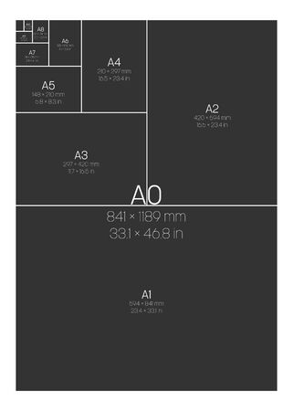 A Series Paper Sizes. With labels and dimensions in milimeters and inches. Simple flat vector illustration. Ilustração