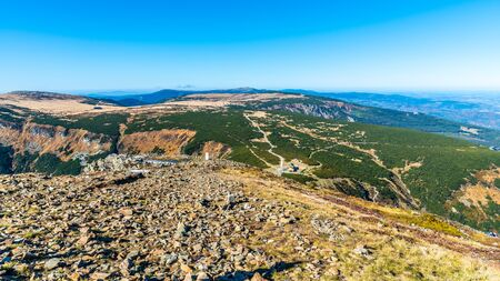 Krkonose - Giant Mountains panorama. View from lookout point on Snezka Mountain. Imagens
