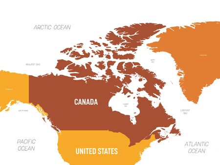 Canada map - brown orange hue colored on dark background. High detailed political map Canada and neighboring countries with country, ocean and sea names labeling. Ilustração