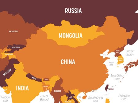 China map - brown orange hue colored on dark background. High detailed political map of China and neighboring countries with country, ocean and sea names labeling.