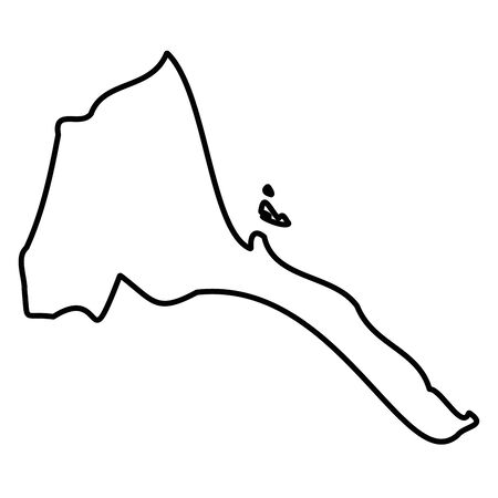 Eritrea - solid black outline border map of country area. Simple flat vector illustration.