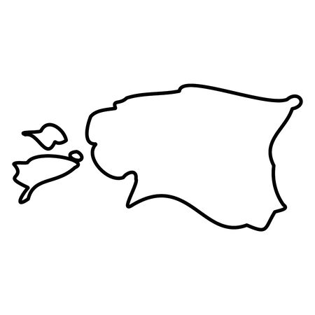 Estonia - solid black outline border map of country area. Simple flat vector illustration.