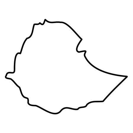 Ethiopia - solid black outline border map of country area. Simple flat vector illustration. Vettoriali