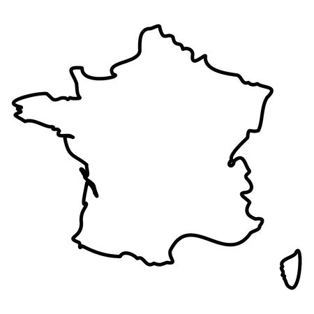 France - solid black outline border map of country area. Simple flat vector illustration.