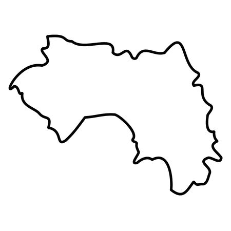 Guinea - solid black outline border map of country area. Simple flat vector illustration.