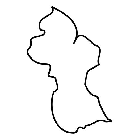 Guyana - solid black outline border map of country area. Simple flat vector illustration.