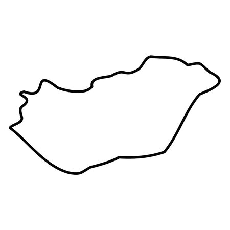 Hungary - solid black outline border map of country area. Simple flat vector illustration.