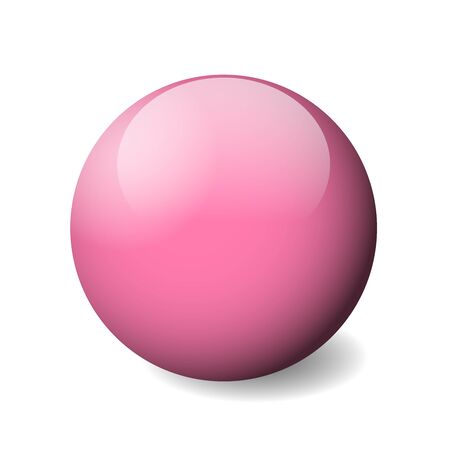 Pink glossy sphere, ball or orb. 3D vector object with dropped shadow on white background. Ilustração