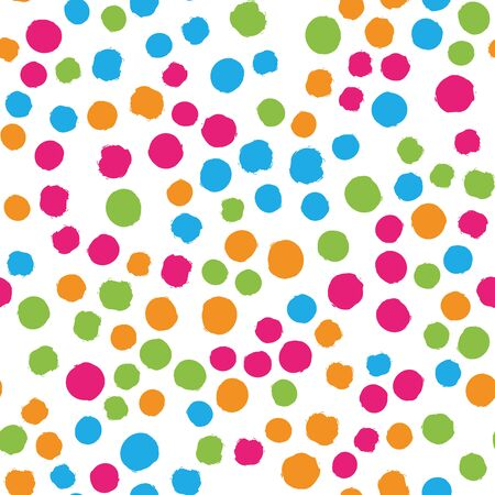 Scattered colorful brush dots. Seamless background pattern. Abstract vector wallpaper. Ilustração