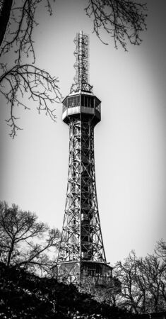 Petrin Tower. Detailed view on sunny day. Prague, Czech Republic. Black and white image.