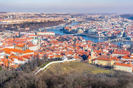 Prague panormaic cityscape. Aerial view from Petrin Tower, Praha, Czech Republic.
