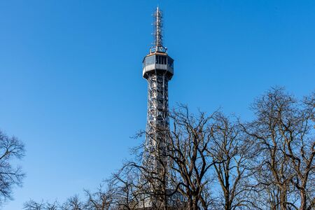 Petrin Tower. Detailed view on sunny day with blue sky background. Prague, Czech Republic.