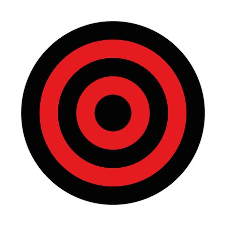 Black and red target. Hunting, shooting sport or achievement symbol. Simple vector icon.