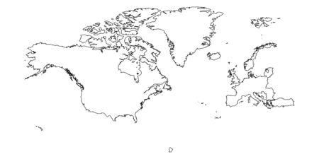 North Atlantic Treaty Organization, member countries silhouette map. Ilustracja