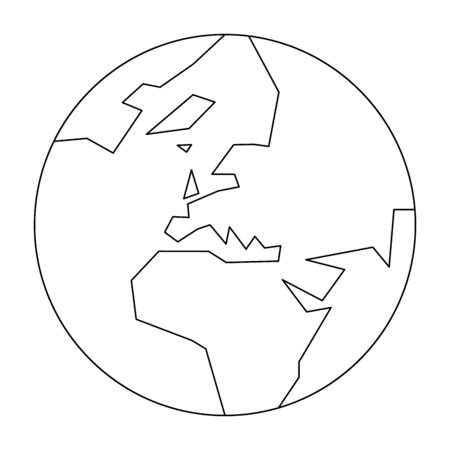 Simplified outline Earth globe with map of World focused on Europe. Vector illustration. Ilustração