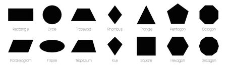Geometric shapes with labels. Set of 14 basic shapes. Simple flat vector illustration. Ilustracja