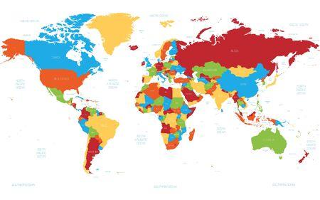 Weltkarte. Hochdetaillierte politische Weltkarte mit Länder-, Ozean- und Seenamen-Beschriftung. 5 Farben-Schema-Vektorkarte auf weißem Hintergrund. Vektorgrafik